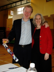 Danny Graham and Kathy Jourdain at an Envision Halifax public gathering where project teams shared what they were working on in that year (2007).